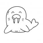 דף צביעה של כלב ים מחייך