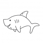 דף צביעה של כריש מחייך בים