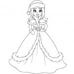 דף צביעה של נסיכה עם שמלה יפה